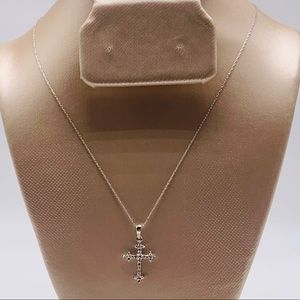 EUC 10K White Gold Diamond Cross Necklace